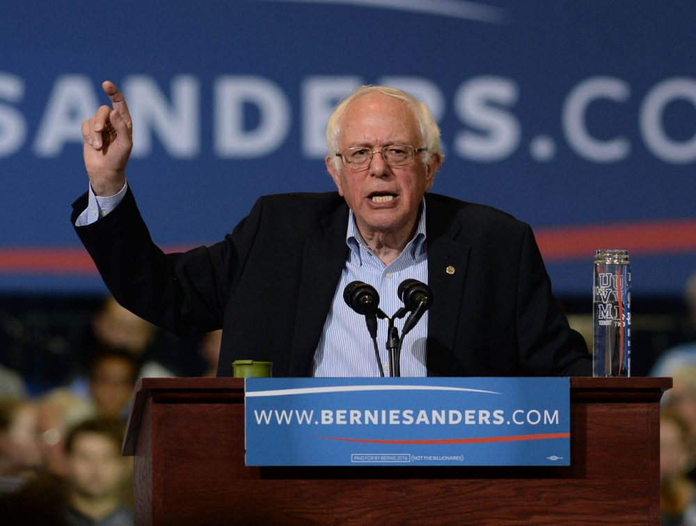 Democratic Presidential candidate Bernie Sanders speaks during a rally in Boston. (Darren McCollester/Getty Images)