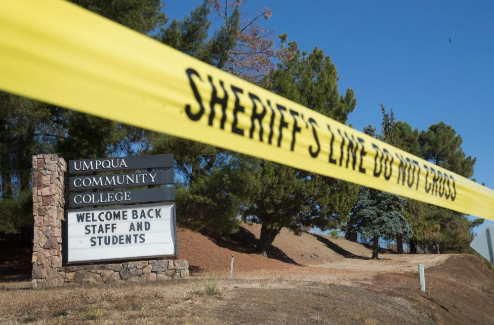 A sign at the edge of campus welcomes students and staff back to Umpqua Community College on October 5, 2015 in Roseburg, Oregon. Despite crime scene tape still being stretched around large areas of the school, the campus was open to staff and students today for the first time since last Thursday when 26-year-old Chris Harper-Mercer went on a shooting rampage killing nine people and wounding another nine before he was killed. Classes are not scheduled to resume until next week. (Scott Olson/Getty Images)