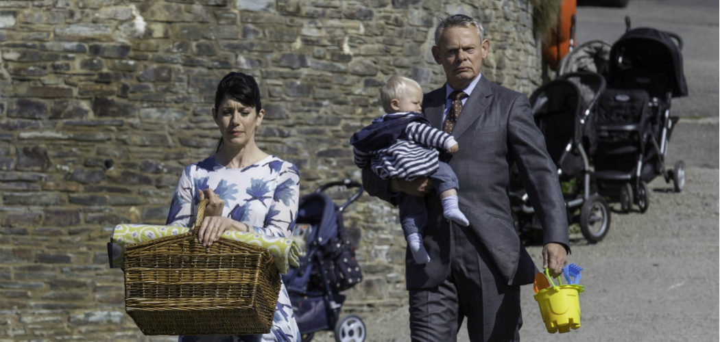 Caroline Catz as Louisa and Martin Clunes as Doc Martin. (Acorn TV)