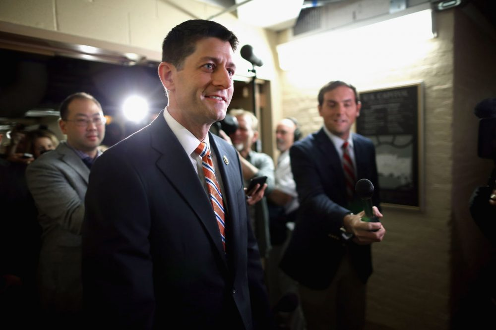 House Ways and Means Committee Chairman Paul Ryan (R-WI) heads for House Republican caucus meeting in the basement of the U.S. Capitol October 9, 2015 in Washington, D.C. Many GOP members of the House are asking Ryan to be a candidate to succeed Speaker of the House John Boehner (R-OH) whose plans to retire at the end of October have been thrown into question after Majority Leader Kevin McCarthy (R-CA) announced Thursday he was pulling out of the race for Speaker.  (Chip Somodevilla/Getty Images)