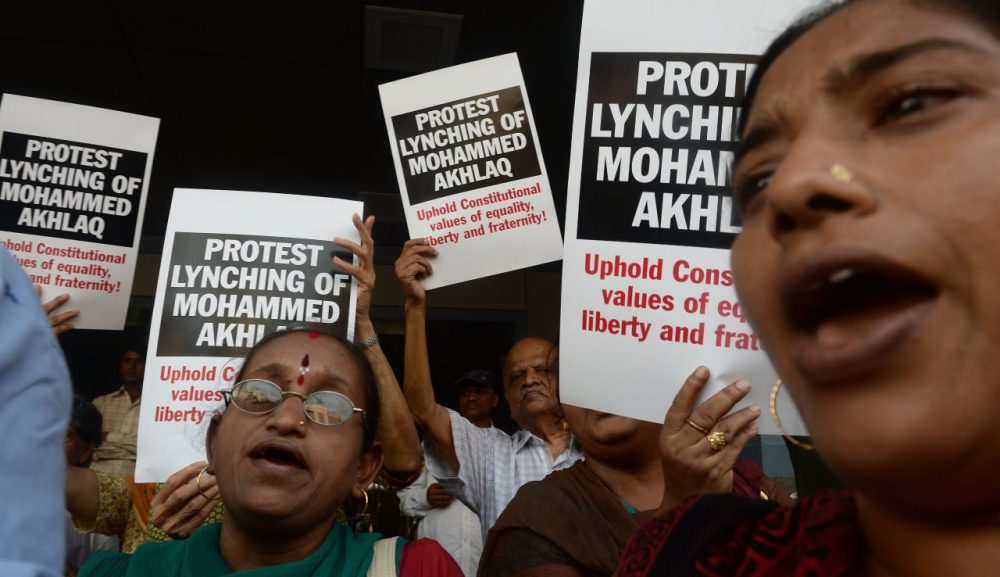 Indian protesters shout slogans during a demonstration to condemn the lynching and murder of an Indian Muslim, in Mumbai on October 6, 2015. Mohammad Akhlaq, 50, was dragged from his house September 29, 2015 on the outskirts of the capital New Delhi and attacked by a Hindu mob over rumors that he had stored and eaten beef.  (Indranil Mukherjee/AFP/Getty Images)