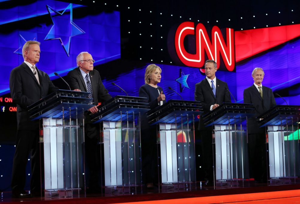From left, Democratic presidential candidates Jim Webb, U.S. Sen. Bernie Sanders (I-VT), Hillary Clinton, Martin O'Malley and Lincoln Chafee take part in presidential debate sponsored by CNN and Facebook at Wynn Las Vegas on October 13, 2015 in Las Vegas, Nevada. (Joe Raedle/Getty Images)