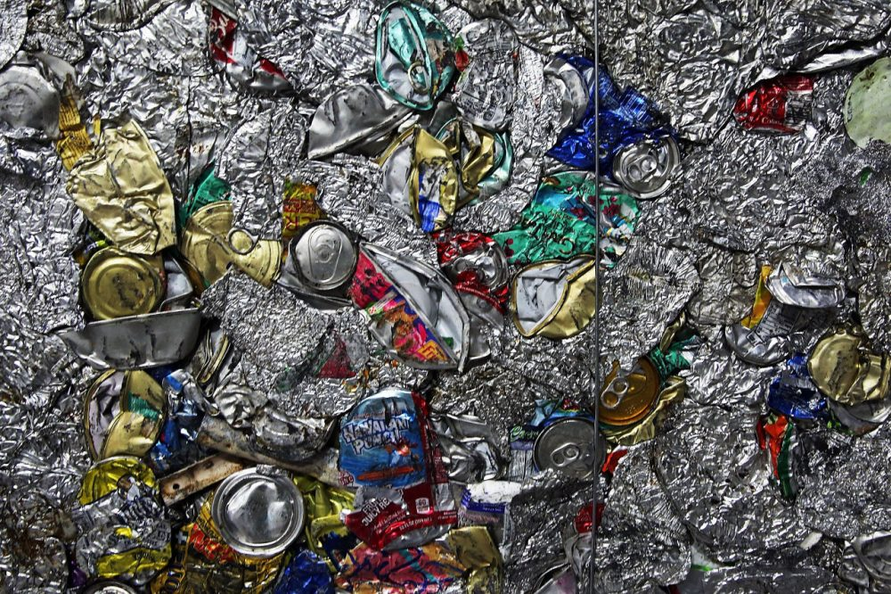 Recycled cans and other aluminum products are viewed at the Sims Municipal Recycling Facility, an 11-acre recycling center on the Brooklyn waterfront on April 22, 2015 in New York City. Approximately 19,000 tons of metal, glass and plastic are collected monthly by the Department of Sanitation in New York City. (Spencer Platt/Getty Images)