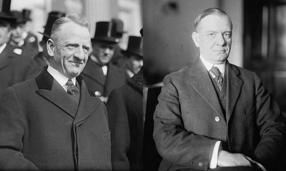 Sen. Carter Glass (D-Va.) on the left and Rep. Henry B. Steagall (D-Ala.) on the right. Glass and Steagall co-founded the Glass-Steagall Act passed in 1933 and repealed in 1999 by President Bill Clinton. (Photo of Sen. Glass from The Mystery Man/Wikimedia; Photo of Rep. Steagall from the U.S. House of Representatives; Collage by Adam sk/Wikimedia)