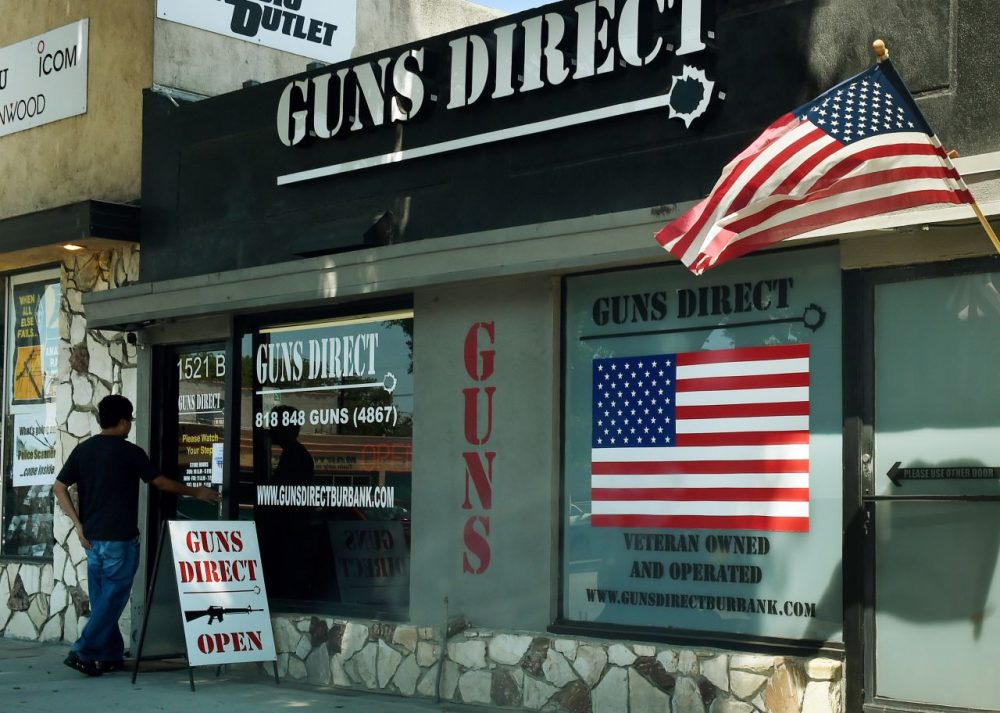 A man enters a gun store in Los Angeles, California on August 27, 2015. (Mark Ralston/AFP/Getty Images)