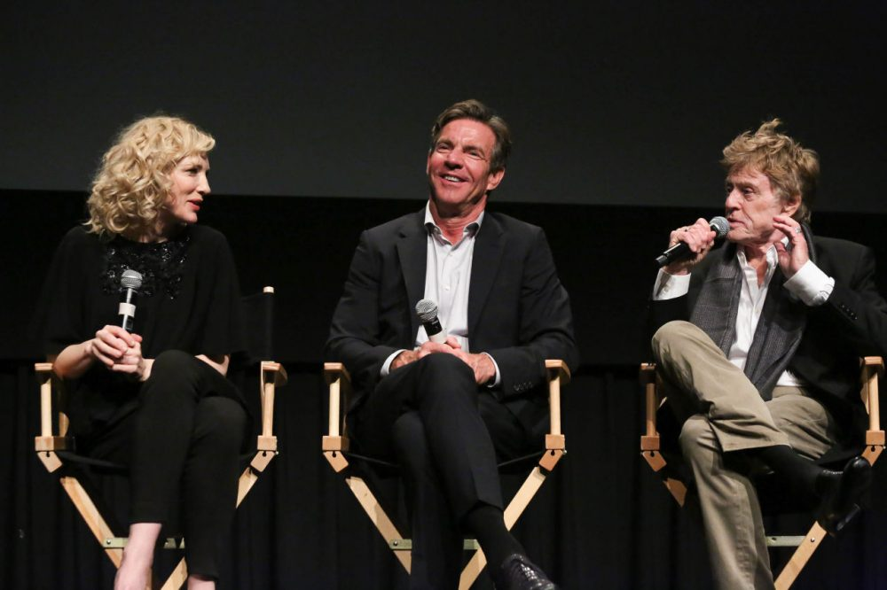 "From left: Cate Blanchett, Dennis Quaid and Robert Redford attend a panel discussion following a screening of ""Truth,"" hosted by the Academy Of Motion Picture Arts And Sciences at New York Institute of Technology, on October 7, 2015 in New York City. (Rob Kim/Getty Images for Academy of Motion Picture Arts and Sciences)"