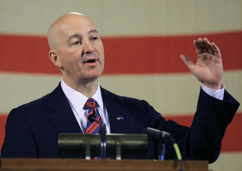 Nebraska Gov. Pete Ricketts gestures during a news conference in Lincoln, Neb., Wednesday, May 20, 2015. Gov. Ricketts voiced his opposition to a bill to abolish the death penalty which is up for a final vote before the Legislature on Wednesday, and promised to veto the bill should it pass. (Nati Harnik/AP)