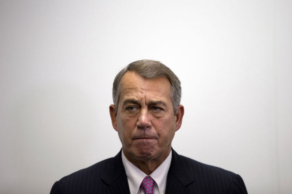 """On Oct. 7, 2015, outgoing House Speaker John Boehner of Ohio listens as House Majority Leader Kevin McCarthy of California, speaks during a news conference on Capitol Hill in Washington. Speaking on """"Fox News Sunday,"""" on Sunday, Oct. 11, 2015, Freedom Caucus Chairman Jim Jordan of Ohio said his group would """"look favorably"""" on U.S. Rep. Paul Ryan if he runs for speaker, but for now the group is sticking with its endorsement of Florida's Rep. Daniel Webster. (Evan Vucci/AP Photo)"""
