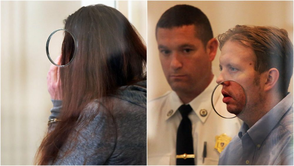 Rachelle Bond (left) and Michael McCarthy (right) attend a hearing in Dorchester District Court on Tuesday. (Wendy Maeda/The Boston Globe via AP)