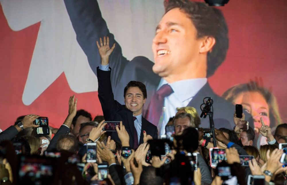 Canadian Liberal Party leader Justin Trudeau arrives on stage in Montreal on October 20, 2015 after winning the general elections. (Nicholas Kamm/AFP/Getty Images)