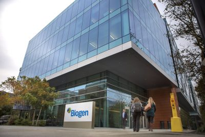 Biogen headquarters on Binney Street in Cambridge (Jesse Costa/WBUR)