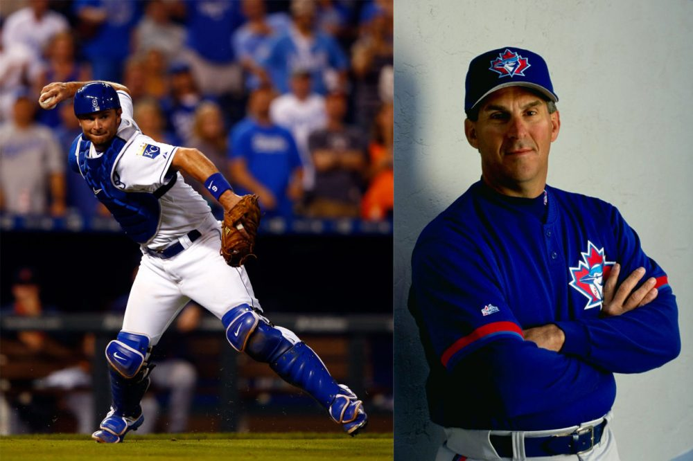 Win or lose, there will be a Butera in the World Series. On the left, Kansas City Royals catcher Drew Butera, #9, at a game in September against the Detroit Tigers. (Squire/Getty Images) On the right, Sal Butera – Drew's father and one of the coaches of the Toronto Blue Jays poses for a picture during Spring Training in 1999 in Florida. (Vincent Laforet/Getty Images)