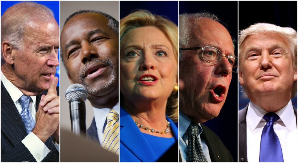 A little over a year before voters go to the polls, a taking stock of the race for the White House. L-R, Joe Biden, Ben Carson, Hillary Clinton, Bernie Sanders and Donald Trump. (All photos/ AP)