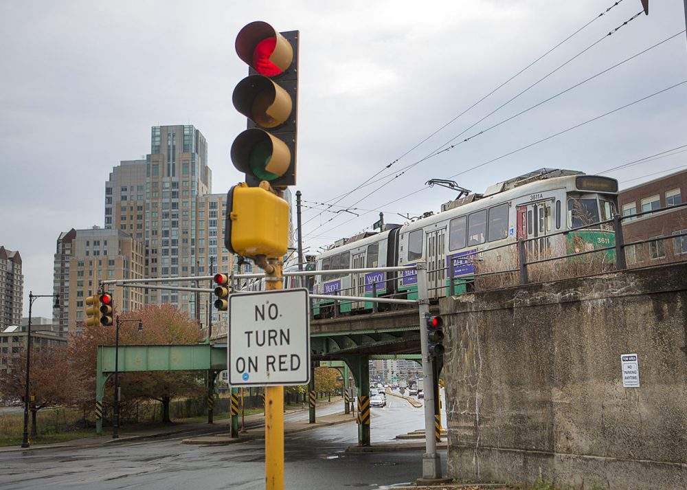 A Green Line trolley pulls into the Lechmere Station in Cambridge. (Jesse Costa/WBUR)