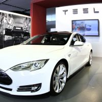 The Tesla Model S Signature is shown during a media preview day at the 2012 North American International Auto Show January 10, 2012 in Detroit, Michigan. Consumer Reports magazine announced it is no longer recommending Tesla's Model S. (Bill Pugliano/Getty Images)