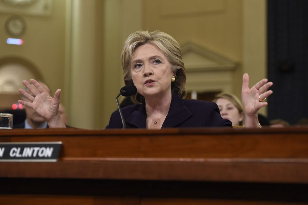 Former Secretary of State and Democratic presidential hopeful Hillary Clinton testifies before the House Select Committee on Benghazi on Capitol Hill in Washington, D.C., October 22, 2015. Clinton took the stand Thursday to defend her role in responding to deadly attacks on the U.S. mission in Libya, as Republicans forged ahead with an inquiry criticized as partisan anti-Clinton propaganda. (Saul Loeb/AFP/Getty Images)