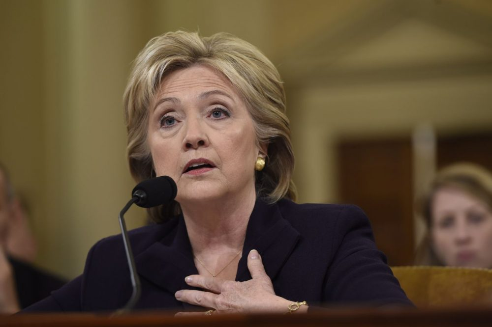 Former Secretary of State and Democratic presidential hopeful Hillary Clinton testifies before the House Select Committee on Benghazi on Capitol Hill in Washington, D.C., October 22, 2015. (Saul Loeb/AFP/Getty Images)