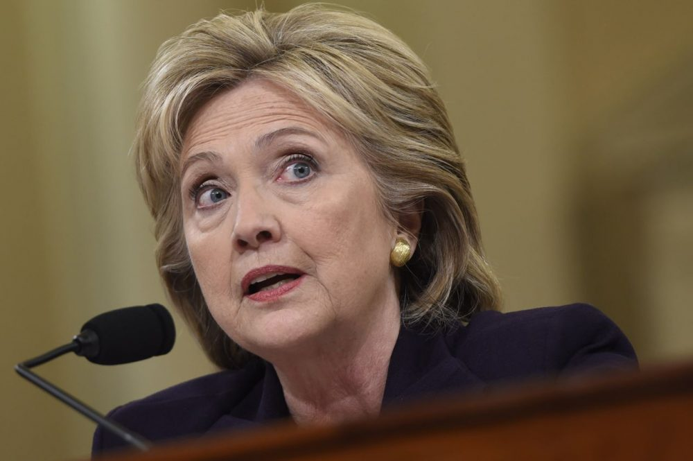 Former Secretary of State and Democratic Presidential hopeful Hillary Clinton testifies before the House Select Committee on Benghazi on Capitol Hill in Washington, DC. (Saul Loeb/AFP/Getty Images)
