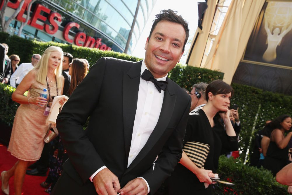 Jimmy Fallon arrives at the 67th Primetime Emmy Awards on Sunday, Sept. 20, at the Microsoft Theater in Los Angeles. (Rich Fury/Invision for the Television Academy/AP)