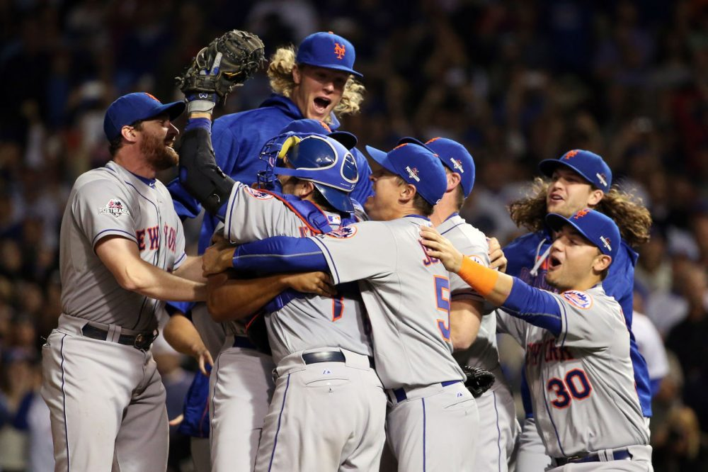 Good thing the New York Mets actually won the NLCS on Wednesday: the team's pro shop website accidentally posted National League Champions gear before Game 4 was clinched. (Jonathan Daniel/Getty Images)