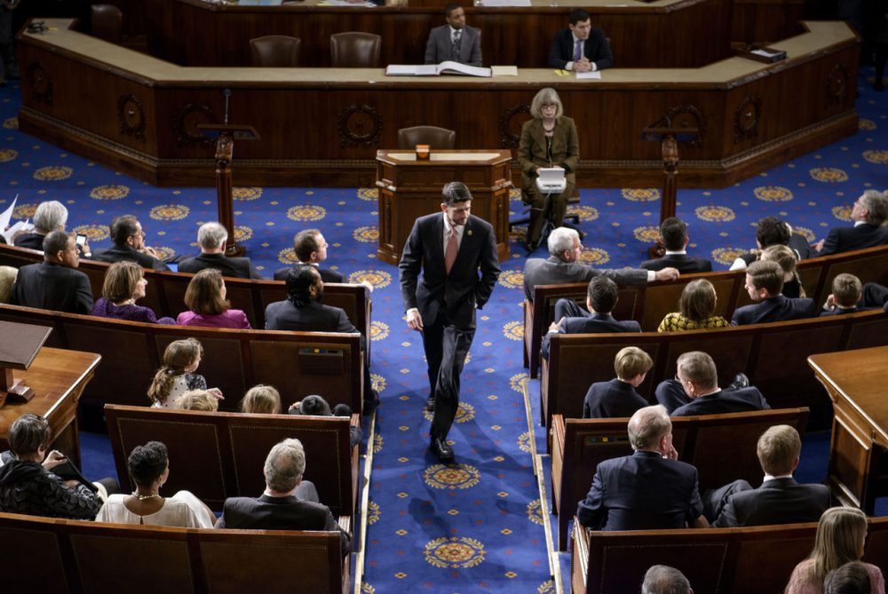 Rep. Paul Ryan (R-WI) walks on the House floor on Capitol Hill January 6, 2015 in Washington, DC, where the 114th Congress convened with Republicans taking majority control of both the Senate and House of Representatives. The House now faces a busy week as they look to Ryan to take over as Speaker of the House and contemplate the debt ceiling. (Brendan Smialowski/AFP/Getty Images)