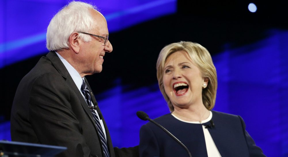 Rich Barlow debunks the two most commonly held misconceptions about the Democratic front-runners once and for all. In this photo, Bernie Sanders and Hillary Clinton laugh during the CNN Democratic presidential debate, Tuesday, Oct. 13, 2015, in Las Vegas. (John Locher/ AP)