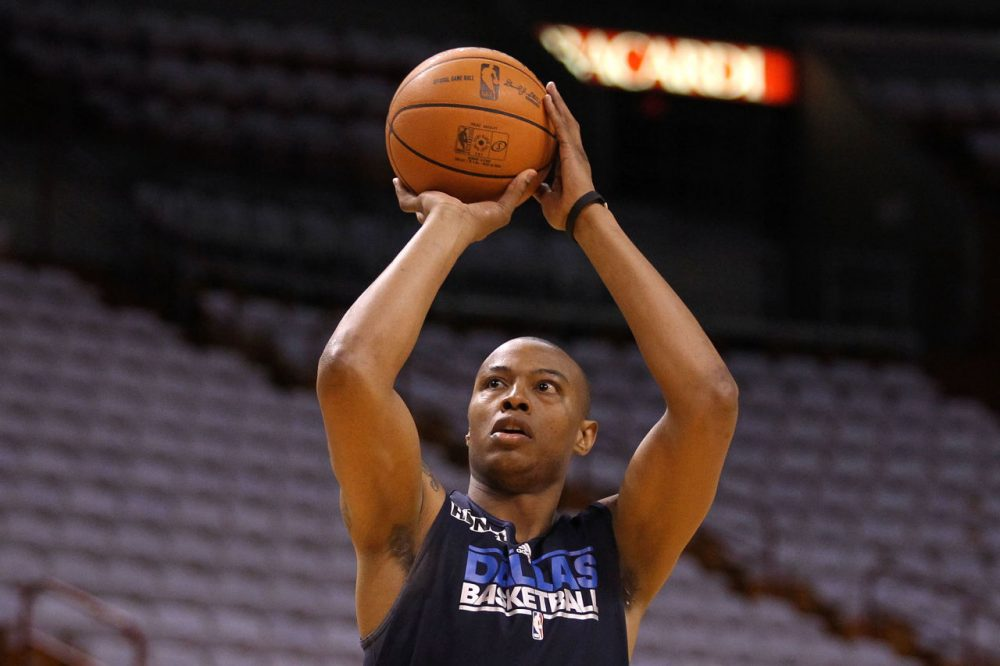 Caron Butler in June of 2011, when he played for the Dallas Mavericks, shooting around during practice prior to Game 6 of the 2011 NBA Finals against the Miami Heat at the American Airlines Arena in Miami, Florida. Butler now plays for the Sacramento Kings. (Chris Chambers/Getty Images)