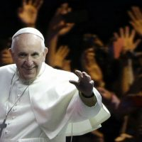 Eileen McNamara: The internal debates of the Catholic Church might be fascinating to Catholics, but why are they assumed to be of compelling interest to everyone else? In this photo, Pope Francis waves to the crowd during a parade Saturday, Sept. 26, 2015, in Philadelphia. (Matt Rourke/ AP)