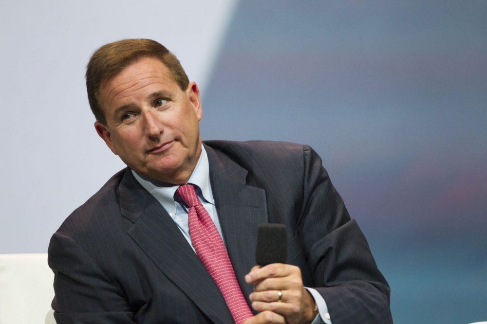 Mark Hurd, Oracle CEO, conducts an interview during his keynote address during the 2014 Oracle Open World conference on September 28, 2014 in San Francisco, California. Oracle Open World conference runs through October 2. (Kimberly White/Getty Images)