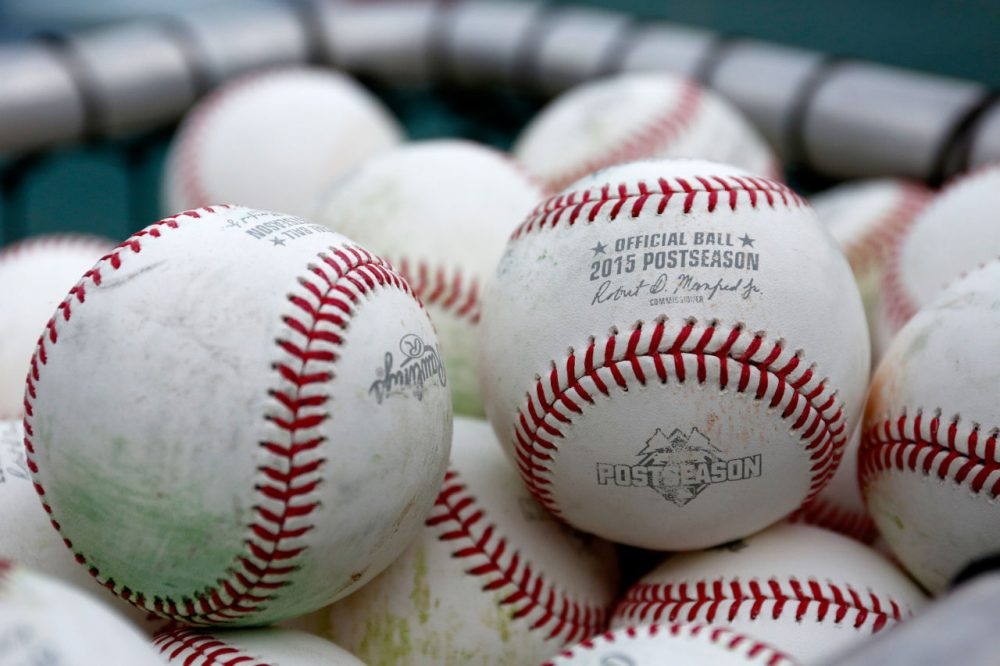 Baseballs are seen during a workout the day before Game 1 of the 2015 World Series between the Royals and Mets at Kauffman Stadium on October 26, 2015 in Kansas City, Missouri. (Kyle Rivas/Getty Images)