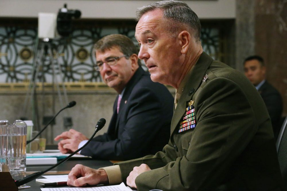 Defense Secretary Ashton Carter (left) and Joint Chiefs of Staff Chairman Gen. Joseph Dunford Jr. testify before the Senate Armed Services Committee about the U.S. military strategy in the Middle East in the Dirksen Senate Office Building on Capitol Hill October 27, 2015 in Washington, D.C. Carter testified about changes in the strategy that will continue to support Iraqi forces and pro-Western forces in Syria in the fight against ISIS and the Assad regime. (Chip Somodevilla/Getty Images)