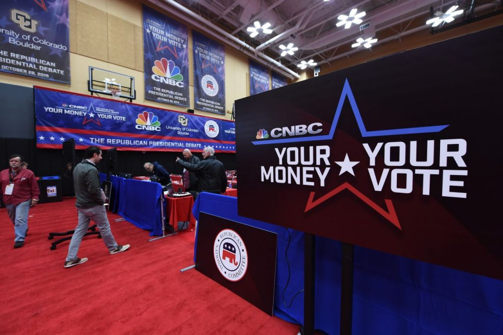 Preparations are underway on October 27, 2015, for the third Republican debate, hosted by CNBC at the Coors Event Center on the University of Colorado campus in Boulder, Colorado. (Robyn Beck/AFP/Getty Images)