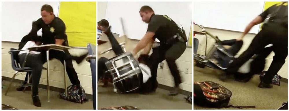 This three image combo made from video taken by a Spring Valley High School student on Monday, Oct, 26, 2015, shows Senior Deputy Ben Fields trying to forcibly remove a student from her chair after she refused to leave her high school math class, in Columbia S.C. The Justice Department opened a civil rights investigation Tuesday after Fields flipped the student backward in her desk and tossed her across the floor. (AP)