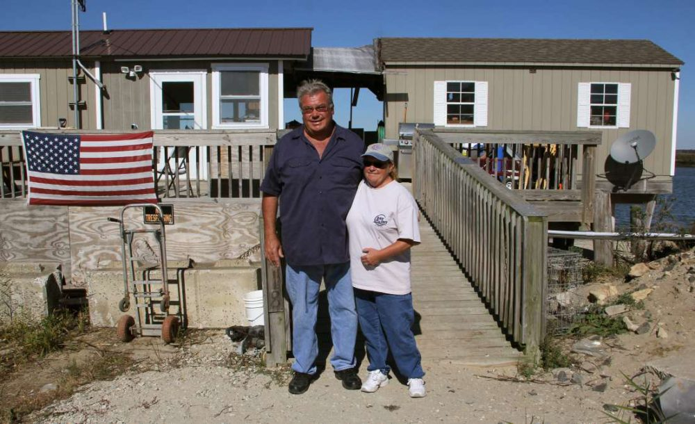 Three years after Hurricane Sandy swept away their bayfront home, Mike and Kate Nelson struggle to continue to live in what Mike describes as 'a poor man's paradise.' (Emma Lee/WHYY)