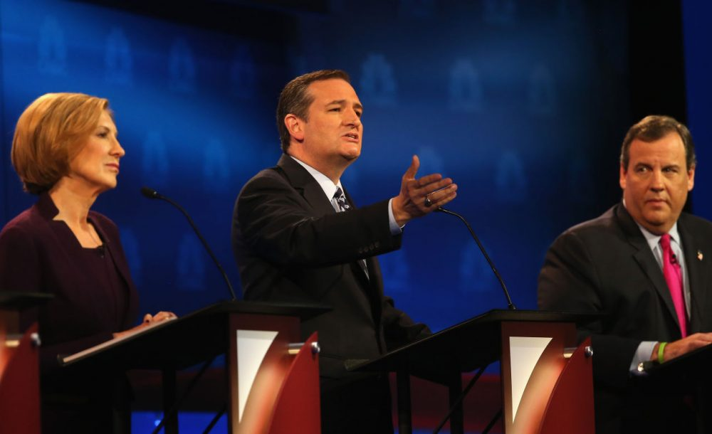Presidential candidate Sen. Ted Cruz (center) (R-TX) speaks while New Jersey Gov, Chris Christie (right) and Carly Fiorina look on during the third Republican Presidential Debate,(Justin Sullivan/Getty Images)