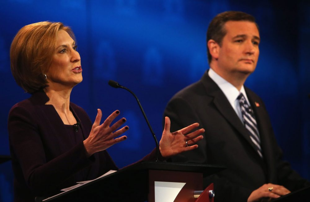 Presidential candidates Carly Fiorina (left) and Sen. Ted Cruz (R-TX) during the CNBC Republican Presidential Debate. (Justin Sullivan/Getty Images)