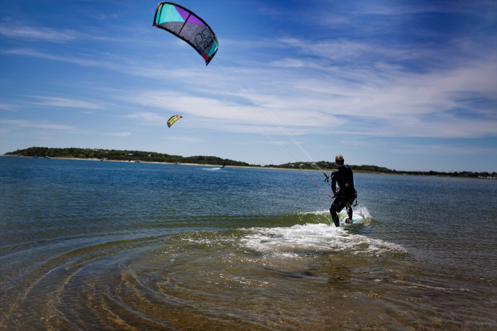 A kiteboarder off the coast of Monomoy. (Jesse Costa/WBUR)