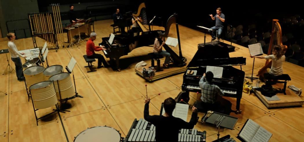 Pierre Boulez with Ensemble Intercontemporain. (Courtesy Institute of Contemporary Art, Boston)