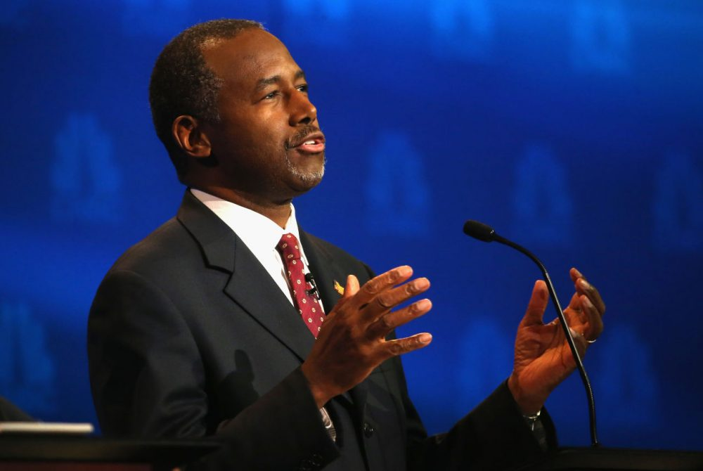 Presidential candidate Ben Carson speaks during the CNBC Republican Presidential Debate in Colorado. He was asked during the debate about his involvement with company Mannatech, to which he replied that he had no involvement.(Justin Sullivan/Getty Images)