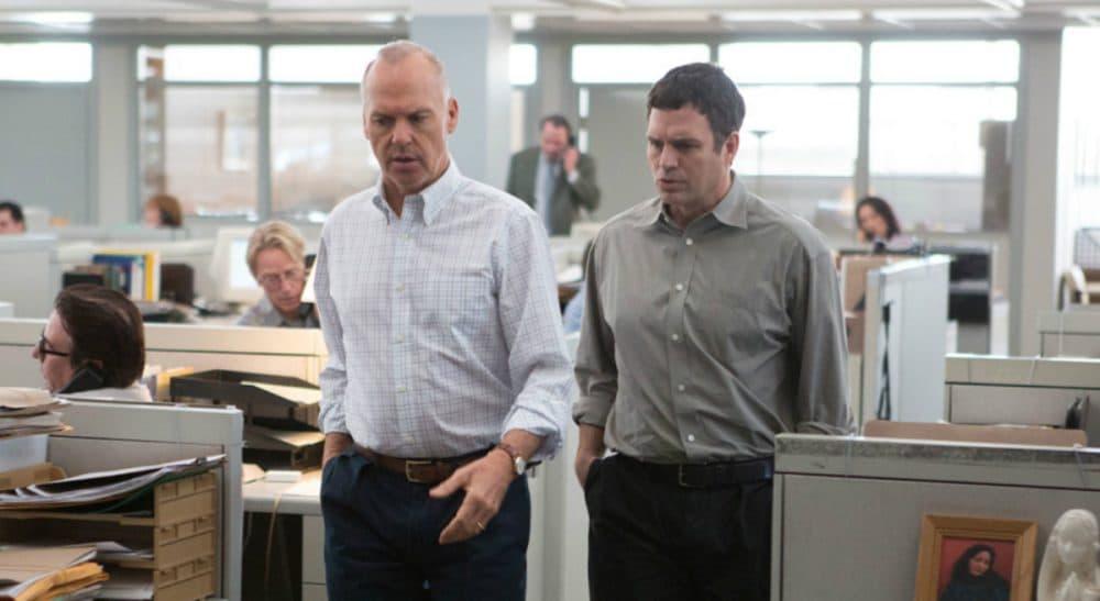 "Michael Keaton as Spotlight team editor Walter Robinson, left, and Mark Ruffalo as reporter Michael Rezendes, in a still from the film ""Spotlight."" (Open Road Films)"