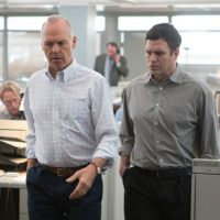 "Michael Keaton as Spotlight team editor Walter Robinson, left, and Mark Ruffalo as reporter Michael Rezendes, in a still from the film ""Spotlight."" (Open Road Films)"