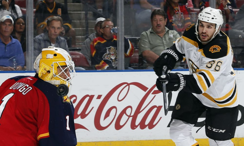 Florida Panthers goaltender Roberto Luongo (1) has the puck go past his mask on a shot by Boston Bruins center Zac Rinaldo (36) during the second period of a game Friday. (Joel Auerbach/AP)