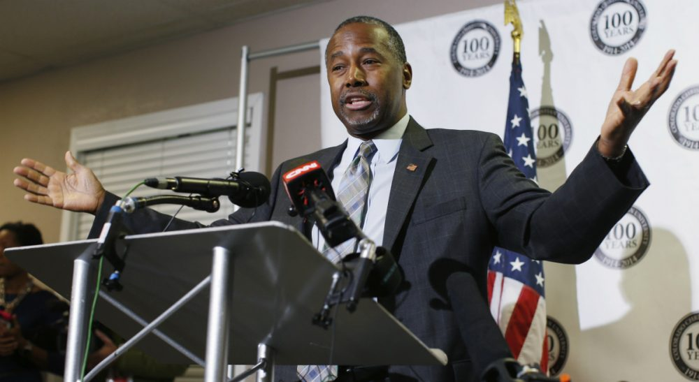 Dr. Ben Carson gestures during a news conference during a campaign stop, Thursday, Oct. 29, 2015, in Lakewood, Colo. The Republican candidate for president has compared both the Affordable Care Act and abortion to slavery.(David Zalubowski/ AP)