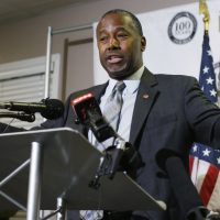 Dr. Ben Carson gestures during a news conference during a campaign stop, Thursday, Oct. 29, 2015, in Lakewood, Colo. The Republican candidate for president has compared both the Affordable Care Act and abortion to slavery. (David Zalubowski/ AP)
