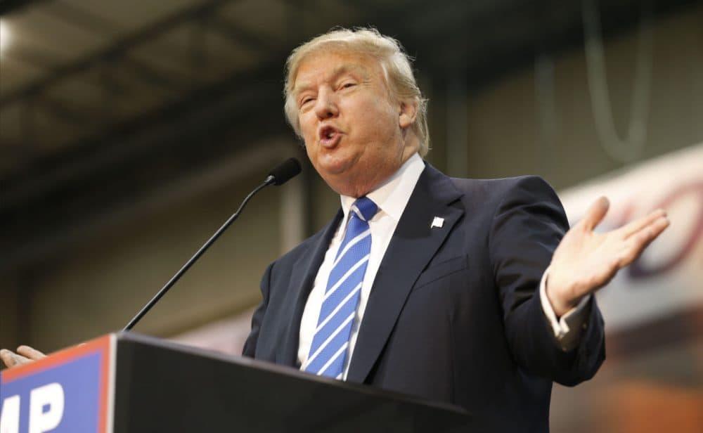 Republican presidential hopeful Donald Trump speaks during a rally in Richmond, Va., Wednesday.  (Steve Helber/AP)