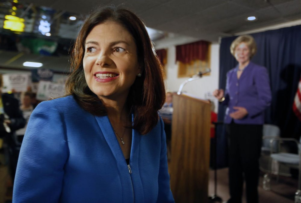 U.S. Sen. Kelly Ayotte, R-N.H., could beat her Democratic challenger, but she can't outrun her record on gun control. Ayotte is pictured in Manchester, N.H. on June 30, 2015. (Jim Cole/ AP)
