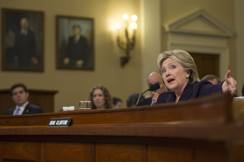 Democratic presidential candidate, former Secretary of State Hillary Rodham Clinton testifies on Capitol Hill in Washington on Thursday before the House Benghazi Committee. (Evan Vucci/AP)