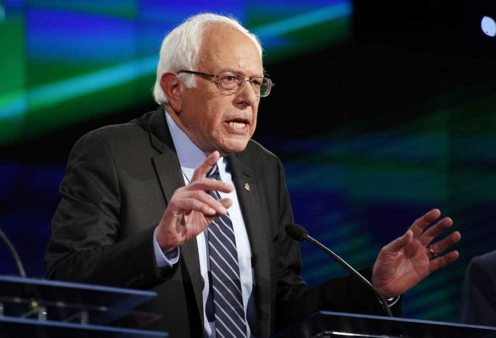 Vermont Sen. Bernie Sanders speaks during a Democratic presidential debate on Oct. 13 in Las Vegas. During the debate, Sanders was asked about socialism. (John Locher/AP)