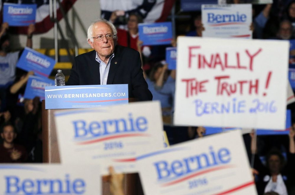 Democratic presidential candidate Bernie Sanders  pauses during a campaign rally in Springfield on Saturday. Later that day, Sanders spoke to thousands at a campaign rally in Boston. (Michael Dwyer/AP)