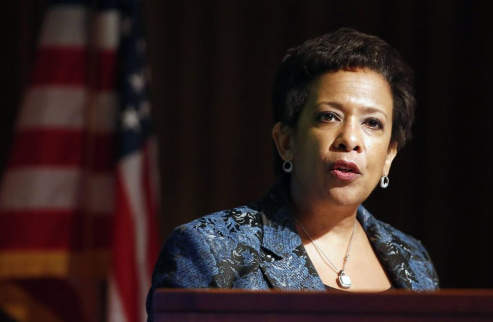 U.S. Attorney General Loretta Lynch addresses the Opioid Misuse and Addiction Summit sponsored by the Massachusetts Medical Society in Waltham Friday. (Michael Dwyer/AP)